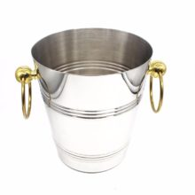 Stainless Steel Ice Bucket with Golden Handles